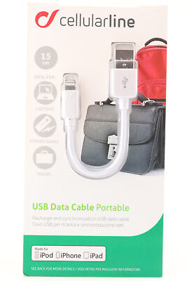 Cellularline USB  Lightning Datenkabel Ladekabel iPhone iPad iPod 15cm weiß 162