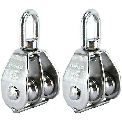 2Pack Double Pulley Rope Pully Lifting Wheel Swivel Block Stainless Steel 304