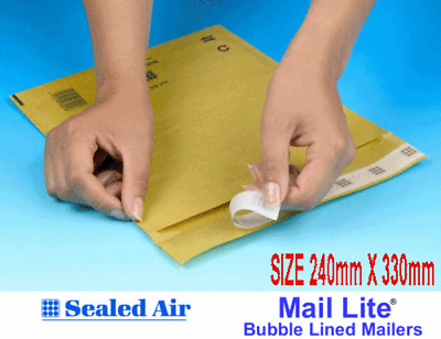 PADDED BUBBLE ENVELOPES Mail Lite GOLD G4 G/4 LINED  240mm x 330mm per box 100p