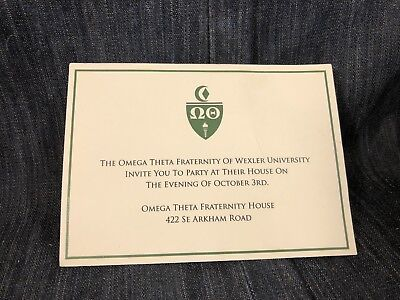 The Librarians Screen Used Invitations To The Omega Theta Fraternity At Wexler!!