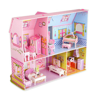 Kids Doll House With Furniture Staircase Barbie Princess Castle Dollhouse UK