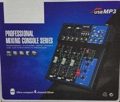Mixer Professionale Piano Bar 4 Canali Mix Con Usb Mp3 Console Ultra Compatto
