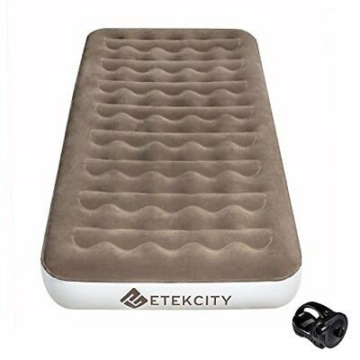 Twin Air Mattress Inflatable Bed Built-In Pump Rechargeable Indoor/Outdoor Camp