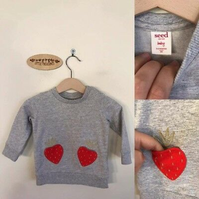 Sz 00 Seed grey strawberries pullover