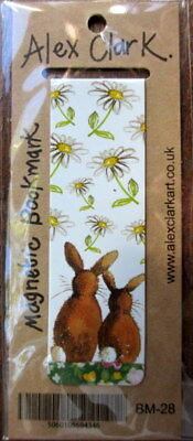 Two Bunny Rabbits Small Magnetic bookmark by Alex Clark Xmas Gift 8 cm Daisies