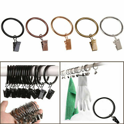 10x Curtain Pole Rod Voile Net Rings Hooks with Clip Curtain Hanging Accessories