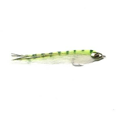 2 SALTWATER FLY FISHING BF24 WHITE // CHARTREUSE LARGE DECEIVER STYLE FLIES