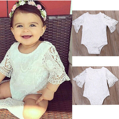 Newborn Baby Girls Bodysuit Romper White Broderie Lace Princess Jumpsuit 0-24M