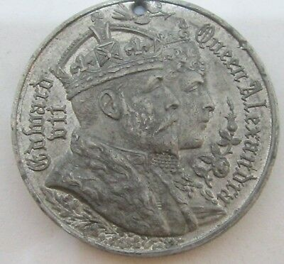 ANTIQUE 1902 KING EDWARD QUEEN ALEXANDRA 39mm CORONATION MEDALLION