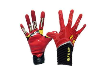 Brand New Under Armour Highlight Red Pride Maryland UMD Football Gloves