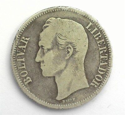 Venezuela 1886 Silver 5 Bolivares  Very Good+