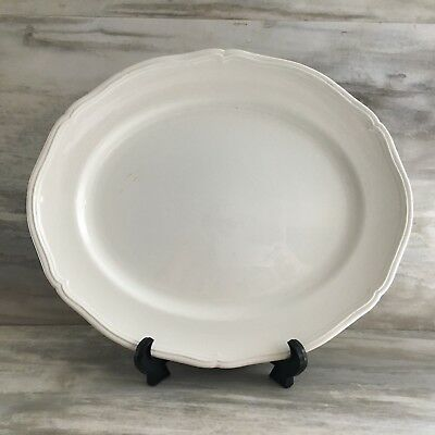 Vintage White Ironstone Platter Embossed Oval Burleigh Ware