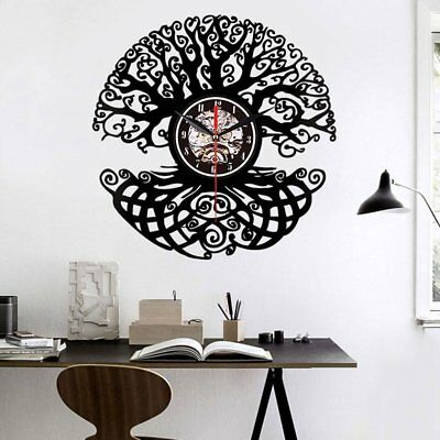 Vinyl Wall Clock Vinyl Record Creative Wall Clock - Big Tree Without Lights G3