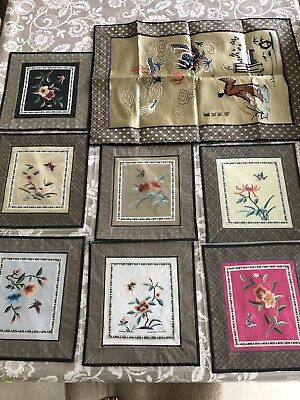 Vintage Chinese Silk Embroidery Flowers Wall Hanging