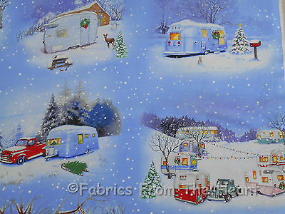 Vintage Travel Trailers Winter Campers Teardrop Scenic 1 7/8 YARDS Cotton Fabric