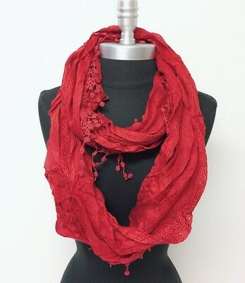 Women's Solid basket-weave Infinity Crochet Scarf 2-Circle Wrap Soft Rust red