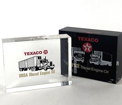 Texaco Paperweights Lot of 2 Lucite One Clear One Black Background URSA Oil Vtg