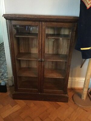 Small Vintage Oak Glass Fronted Bookcase