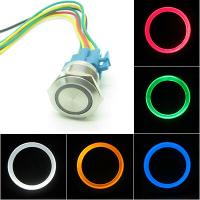 Stainless Steel Power Push Button Switch LED Ring Light 22mm Waterpoof + Socket