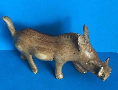 Hand Carved Wood Warthog Boar Pig Figure Statue Brown