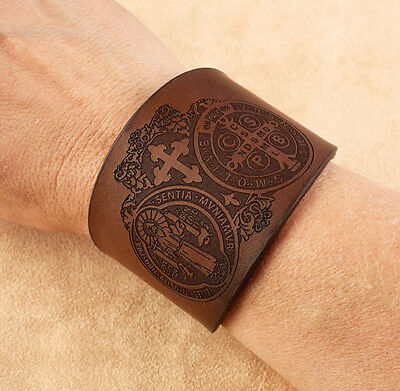 "Rare LEATHER CUFF ST BENEDICT Bracelet Saint Embossed 2"" wide"