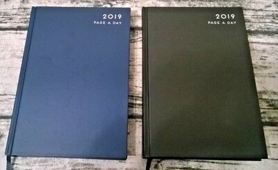 2019 Page a Day View Diary Book Hardback Black - Blue - A5 Planner Page day view