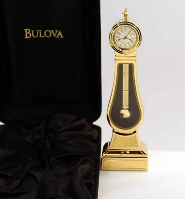 Bulova Miniature Grandfather Clock Morbier B0561 Brass Collectible