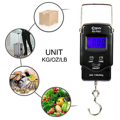 Best 110lb/50kg Electronic Balance Digital LCD Fishing Postal Hanging Hook Scale