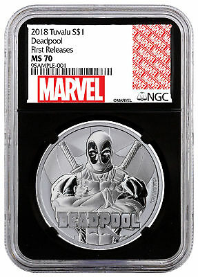 2018 Tuvalu Deadpool 1 oz Silver Marvel Srs $1 NGC MS70 FR Black Core SKU55689