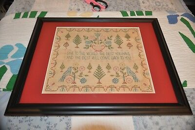 """Vintage Cross Stitch Sampler - """"Give to the World the Best You Have"""""""