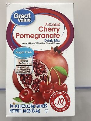 Great Value Cherry Pomegranate ~ On The Go ~ Drink Mix Water Enhancer ~ 10 ct