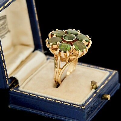 Antique Vintage Deco Retro 14k Yellow Gold Green Tourmaline Floral Ring Sz 5.25