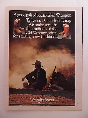 1979 Print Ad Wrangler Cowboy Boots Western ~ The Old West