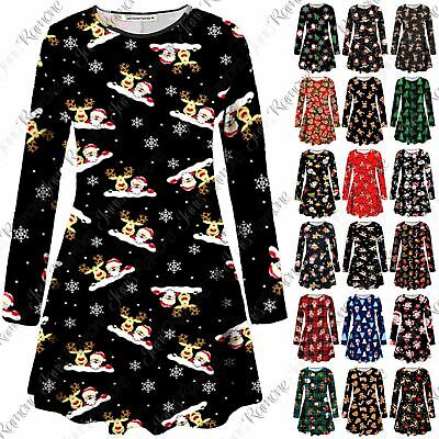 UK Girls Womens Xmas Reindeer Wall Santa Gift Flared Christmas Party Swing Dress
