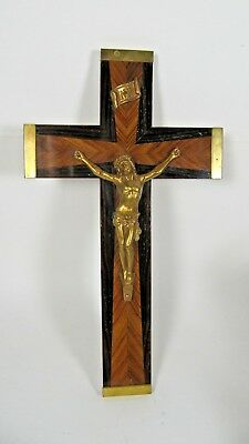 Mid Century Gilt Vintage Crucifix French Wood Jesus Christ Wall Cross Inlaid