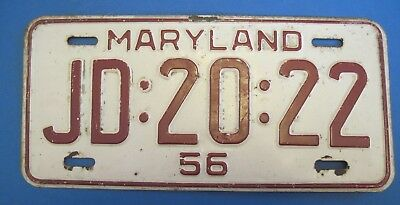 1956 Maryland License Plate