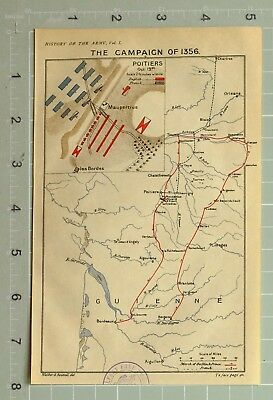 Map/battle Plan Campaign Of 1356 Poitiers Showing French & English Guienne