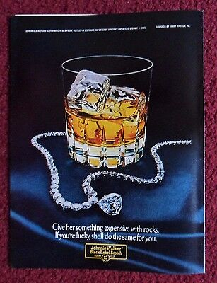 1982 Print Ad Johnnie Walker Black Label Whisky ~ Diamond Necklace WITH ROCKS