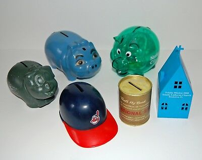 Lot of 6 Vintage & Antique Plastic, Paper & Celluloid Piggy Banks