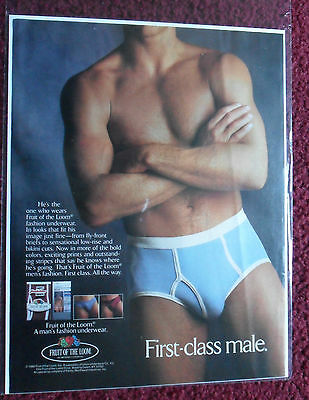 1980-89 Lower Price with Fruit Of The Loom 1986 Magazine Ad Red Briefs Understatement Print Advertising Advertising-print