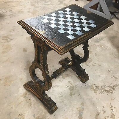 Antique Black Leather Chess Game Table Gold Detail