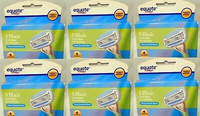 6 x Equate 5 Blade Razor Cartridges For Women,4 Cartridges