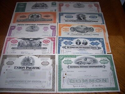 Lot of 10 Different Transportation Stock Certificates. Rail, Ship, Auoto. T2