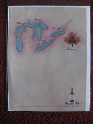 1991 Print Ad Canadian Club Whiskey ~ Map of the GREAT LAKES SUPERIOR