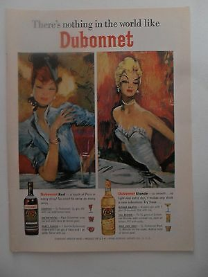 1964 Print Ad Dubonnet Apertif Wine ~ Pretty Girls Art Red & Blonde