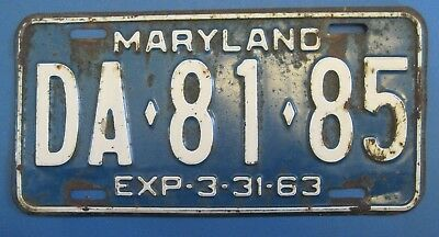 1963 Maryland License Plate