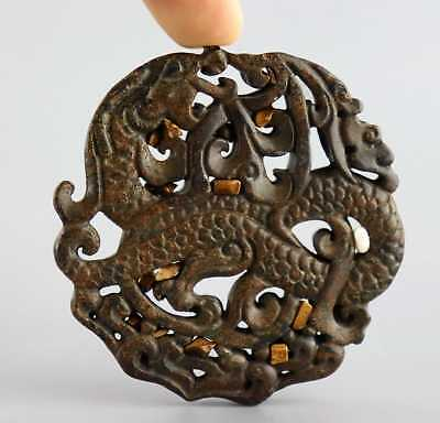 Collectable China Jade Carved Ancient Myth Animal Dragon Exorcism Amulet Pendant