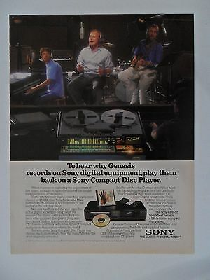 1986 Print Ad SONY Compact Disc Player ~ Phil Collins Genesis Music Band