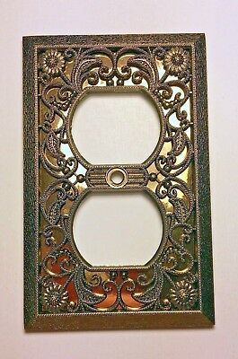 Vintage ORNATE Heavy Duty Floral Brass GOLD FOIL Outlet Electrical Cover Plate