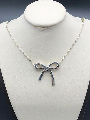 Tiffany & Co Sterling Silver Ribbon Bow Pendant Necklace